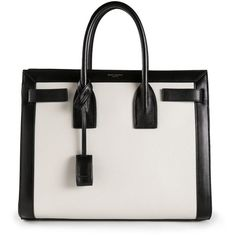 Saint Laurent Small Sac De Jour Tote (8.020 BRL) ❤ liked on Polyvore featuring bags, handbags, tote bags, purses, bolsas, totes, white, handbags totes, white tote bag and hand bags