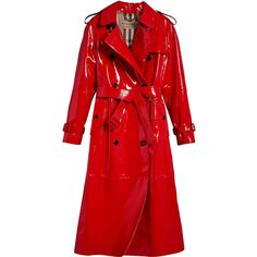 Burberry patent trench coat ($4,160) ❤ liked on Polyvore featuring outerwear, coats, burberry, coats & jackets, jackets, red, double breasted coat, red coat, trench coats and long red coat