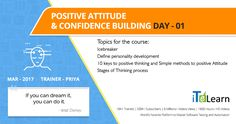 #PositiveAttitude and #Confidence Building Day 01(#JPACT Program)  Click here to watch the #video https://www.youtube.com/watch?v=Z0s7cH08Kd4
