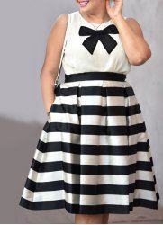 Chic Jewel Neck Bowknot Sleeveless Blouse and Striped Skirt Twinset For Women