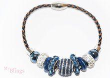 Armband pandorastyle blauw