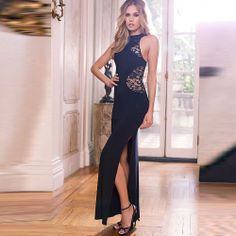 Free Shipping Sheath Sleeveless Pullover Lace Polyester Sexy Side Slit Long Party Dress Women Slim Dress Lady One-piece Dress $29.00