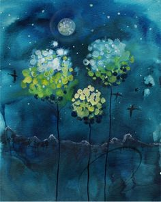 Four Moons. Fine art print by Oladesign. Ink watercolor style painting. Magnolia trees shining brightly in the light of a full moon. Mountain landscape background. Deep blue with yellow, green and white snow on the mountaintops.