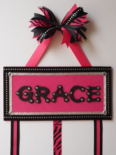 Beautiful Personalized Hair Bow Holder Hanger Organizer