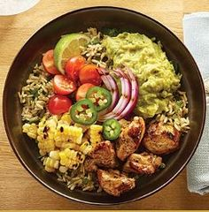 Killer Grilled Chicken and Guacamole Burrito Bowl made with WHOLLY GUACAMOLE dip. Grill up some juicy chicken and corn on the cob to create the something new! #guacamole #burritobowl #bowl #grilled #grilling #corn #chicken #summer #easy #healthy #avocado