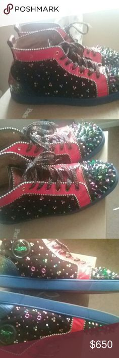 Christian louboutin New No Limit sneakers Swarovski crystals, python skin on tongue and rear of shoe. Multi color spikes on toes of shoes. One spoke on left shoe is missing color and two more have slight color wear. Extra spikes to replace are included with original box and dust bags. Extra shoe strings also. Christian Louboutin Shoes Sneakers