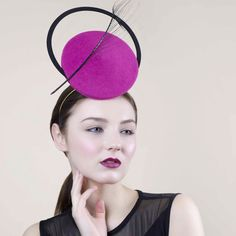 Dramatic Occasion Hat with Feather, Felt Hatinator, Races Millinery, Fuschia - Rome