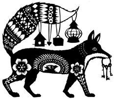 Rural Pearl Fox-  Decorative folksy cutouts