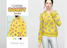 Odd Future Donut Hoodie (Female Ver.)  • New mesh / EA mesh edit  • Category: top (women)  • Age: teen / young adult / adult / elder  • 5 swatches  • Note: male ver. (original)  • Suggested by several anonymous people  Download: SimFileShare