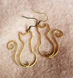 Cats Wire Wrapped Brass or Copper Earrings