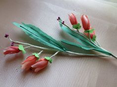 SALE 2 Stems Vintage Silk Millinery Coral Bells in Coral & Magenta for Bridal, Boutonnieres, Wreaths, Hairpins, Hats, Corsages MF 2 coral