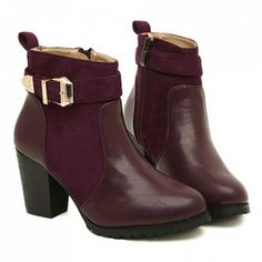 British Style Splice and Buckle Design Women's Boots