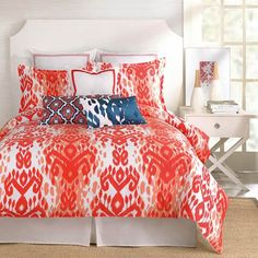 Perfect for a bohemian look! Trina Turk Mojave Ikat Bedding - Coral & White By Trina Turk Bedding, Bed Sets, Comforters, Duvets, Bedspreads, Quilts