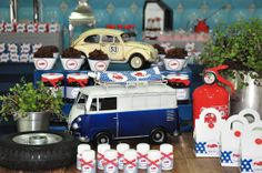 have classic toy cars as part of the decor