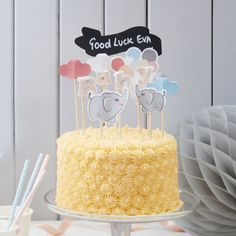 elephants balloons party cake topper set