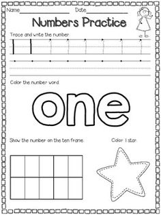 FREE Number Practice Pages for 1-10.