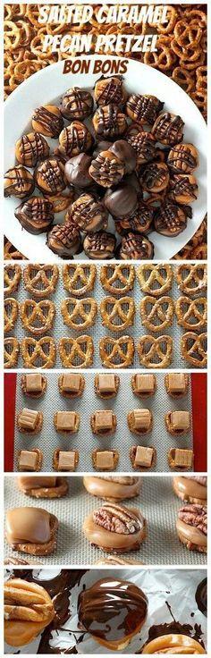Homemade salted caramel pecan pretzel bon bons (Christmas Candy Pretzels)