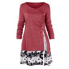 Women Autumn Dress vestidos mujer 2018 Womens Plus Size Button Draped Floral Splicing Long Tunic Dress Tops Ladies Dresses Tunic Shirt, Sweat Shirt, Plus Size Blouses, Plus Size Tops, Long Sleeve Tops, Long Sleeve Shirts, Autumn T Shirts, Autumn Tops, Dress Plus Size