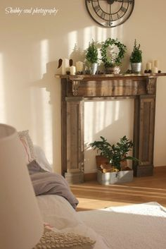Shabby soul: Our Faux Fireplace and a question obudowa kominka Faux Mantle, Faux Fireplace Mantels, Rustic Fireplaces, Modern Fireplace, Fireplace Decorations, Mantles, Fireplace Ideas, Fireplace Console, Fireplace Shelves