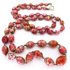 Vintage Art Deco Bohemian Cranberry Opalescent Pink Lava Foil Brown Glass Bead Long Necklace | Clarice Jewellery | Vintage Costume Jewellery