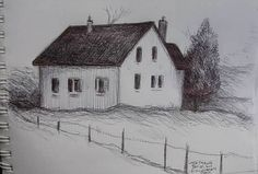 I sketched this desolate farmhouse on the outskirts of Poitiers,France in December 2010. If you look towards the left..you will see the spirals from my sketchbook. I enjoy drawing from life..rather than photo reference whenever possible..and when I travel..I always take my India Ink pens and sketchbooks.
