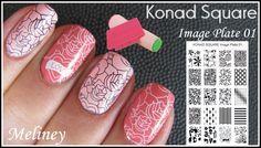 konad square image plate nail art design. meliney video