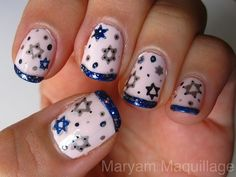 Whoa…these Star of David nails are detailed but AMAZING. | 15 Super Pretty Hanukkah Nail Art Designs