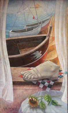 Igor Holas - Boats, 2012, oil on canvas, 122x72cm, www.igorholas.cz
