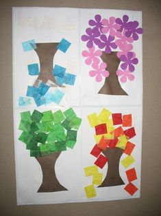 4 seasons - precut tree trunks so as not to overwhelm kids - decorate for each s. 4 seasons - precut tree trunks so as not to overwhelm kids - decorate for each season Seasons Activities, Preschool Activities, Preschool Seasons, Kindergarten Science, Preschool Crafts, Art For Kids, Crafts For Kids, Tree Study, First Day Of Spring