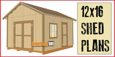 12x16 shed plans, with gable roof. Plans include drawings, measurements…