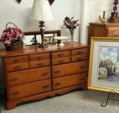 Produced by the Bassett Furniture Industries Inc., this is a 6 drawer dresser that comes with the mirror. It measures 51 inches in length and is 30 1/2 inches tall. Visit our website for details and pricing information