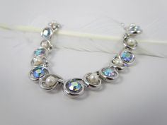 Vtg 1960s Trifari Signed Silver Faux Pearl & AB Rhinestone Adjustable Necklace #Trifari #Collar