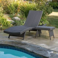 outdoor grey wicker adjustable chaise lounge and table set enjoy relaxing afternoons in the sun