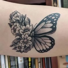 If you're looking for 3d, tiny, large, geometric, dreamy, delicate tattoo ideas in black ink or color, let these butterfly designs inspire your next piece of body art. Butterfly With Flowers Tattoo, Butterfly Hand Tattoo, Butterfly Tattoo Designs, Sunflower Tattoo Design, Tattoo Designs For Women, Butterfly Design, Flower Tattoos, Ribbon Tattoos, Butterfly Drawing