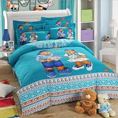 Cartoon Bedding Kids Students 4Pcs Bedding Set Cute Bear Duvet Cover 100% Cotton Duvet Cover Set Plaid Striped Bed Sheet Boys Girls Birthday Gift (Queen, #2) //Price: $160.58 & FREE Shipping //     #hashtag4