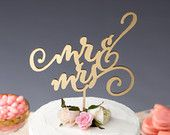 Mr and Mrs Wedding Cake Topper - Gold Metallic- Daydream Collection