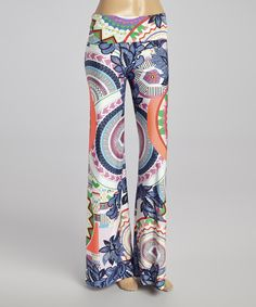 Look what I found on #zulily! Neon Coral & Purple Circle Palazzo Pants by Hadari #zulilyfinds