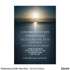 57 best funeral invitations announcements images on pinterest celebration of life sun over the ocean invitation stopboris Choice Image