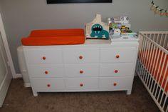 Twin boys nursery | Project Nursery - love the orange knobs
