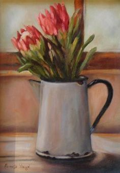 """Enamel Jug with Pink Proteas"" Protea Art, Protea Flower, Decoupage Vintage, Art Floral, Flower Canvas, Flower Art, Watercolor Flowers, Painting Flowers, Fabric Painting"