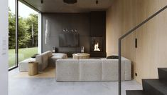 Dark Elegance Modern architecture interior designed by Flat White archi. Living room designed in earthy colours and simple materials like concrete, wood and metal. Minimalist Interior, Luxury Interior Design, Modern Interior Design, Interior Architecture, Interior Decorating, Modern Minimalist House, Minimalist Home Design, Natural Modern Interior, Interior Cladding