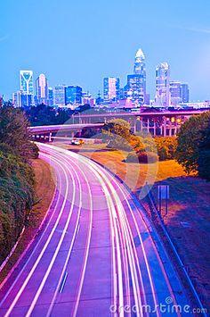 Skyline of uptown Charlotte, North Carolina at night.