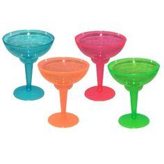 12 Mixed Neon Plastic Margarita Glasses: Amazon.co.uk: Toys & Games