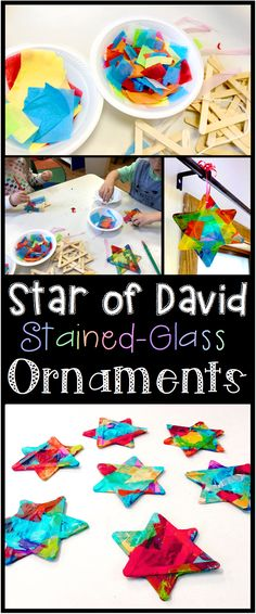 A colorful Star of David craft for kids in celebration of Hanukkah! Hang in a window and the star gives off a stained-glass-like luminance when the sun shines through!