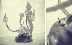 Lightobject by czech artist Eva Necasova (Spacelights). Fabric manipulation, especially shibori technique. Embroidery.