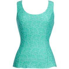 Thalia Sodi Sleeveless Lace Peplum Top ($60) ❤ liked on Polyvore featuring tops, shirts, tank tops, blusas, floral shirt, sleeveless tank, blue floral shirt, blue lace shirt and lace shirt