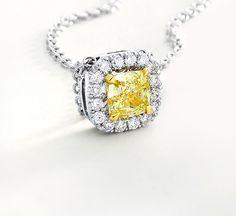 Just love this Fancy Intense Yellow Diamond Halo Pendant!