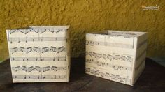 Decoupage small cardboard boxes with sheet music stained in tea. The website is in Spanish, but the pictures are super descriptive. I think I may have to try this.
