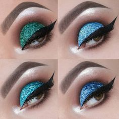 💙💚💙💚💙💚💙 Some looks I created for the glitter collection by @lashesbylena, check out the Web site www.lenaslashes.com to see the names and more colors! You can purchase these beauties on Black Friday! Left to right: American Dream, BFF, Lago and Manhattan. Lashes are Monroe lashes also by @lashesbylena.  Also, unrelated, today was the day I came to the USA three years ago. It's my own little anniversary 😆 Happy Wednesday!  #makeup #mua #makeupartist #promua #macrobeauty #macroeye…