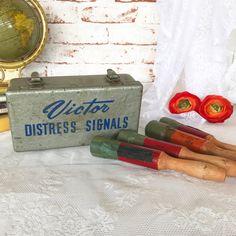 Vintage Victor Marine Distress Signal Flares in Metal Lock Box Mid Century Advertising wood handle lockbox storage industrial primitive by WonderCabinetArts